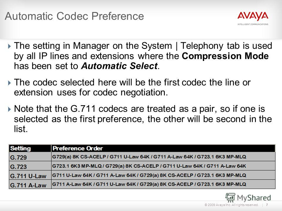© 2009 Avaya Inc. All rights reserved.7 Automatic Codec Preference The setting in Manager on the System | Telephony tab is used by all IP lines and extensions where the Compression Mode has been set to Automatic Select. The codec selected here will b