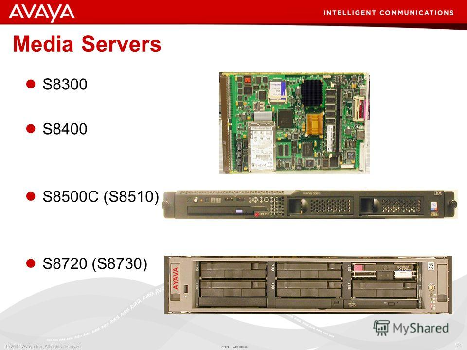 24 © 2007 Avaya Inc. All rights reserved. Avaya – Confidential. Media Servers S8300 S8400 S8500C (S8510) S8720 (S8730)