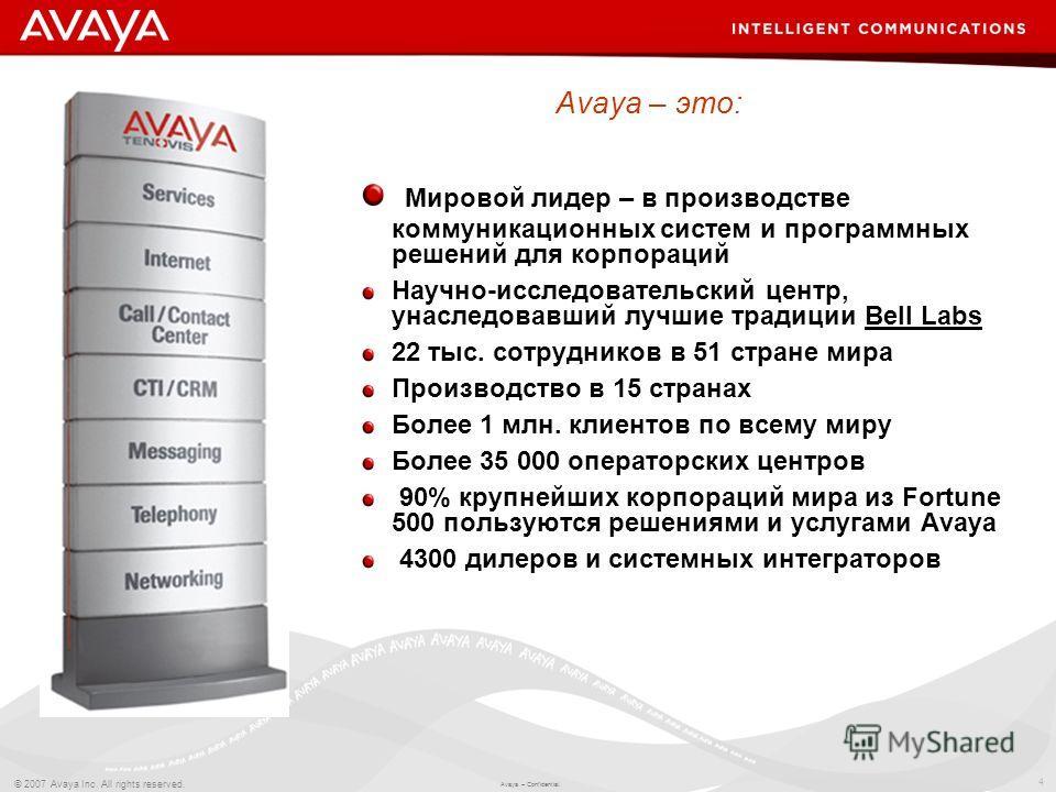 4 © 2007 Avaya Inc. All rights reserved. Avaya – Confidential. Мировой лидер – в производстве коммуникационных систем и программных решений для корпораций Научно-исследовательский центр, унаследовавший лучшие традиции Bell Labs 22 тыс. сотрудников в
