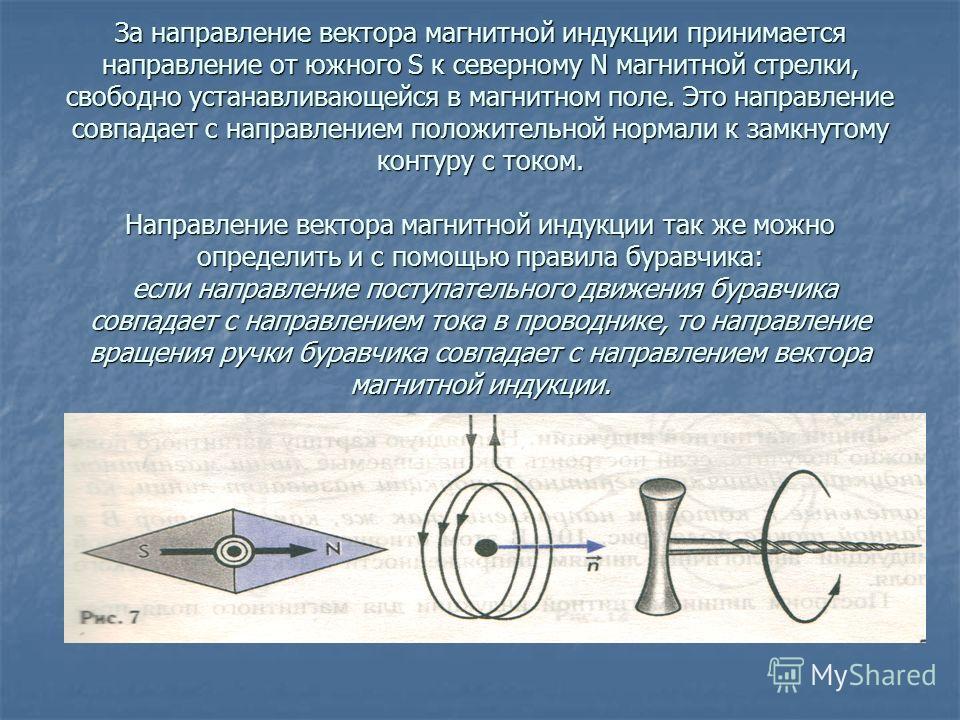 За направление вектора магнитной индукции принимается направление от южного S к северному N магнитной стрелки, свободно устанавливающейся в магнитном поле. Это направление совпадает с направлением положительной нормали к замкнутому контуру с током. Н