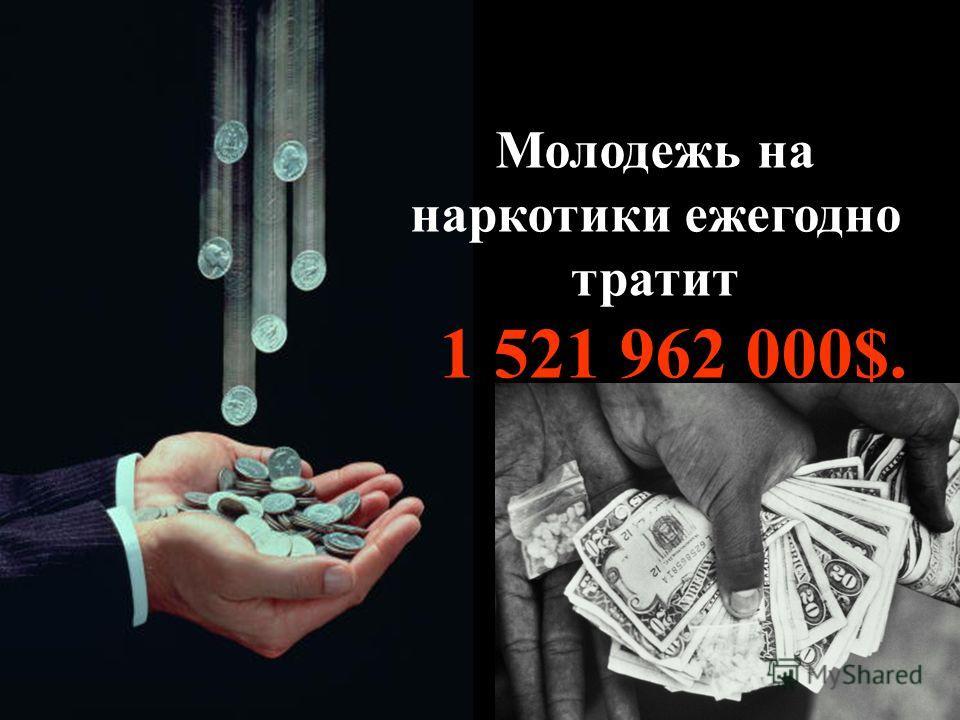 Молодежь на наркотики ежегодно тратит 1 521 962 000$.