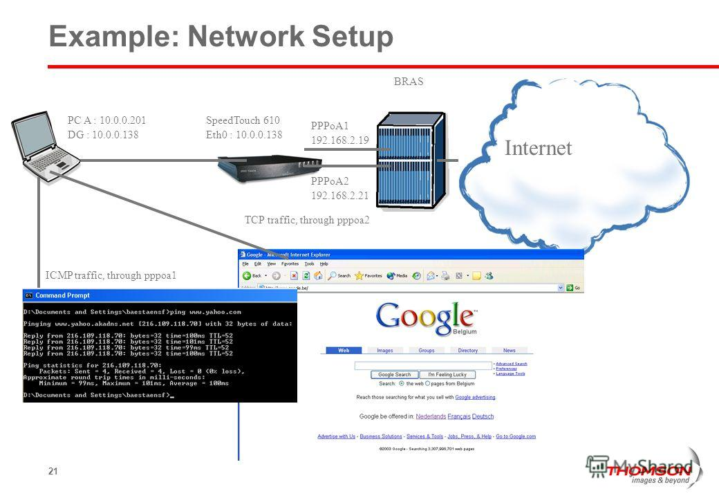 21 Example: Network Setup SpeedTouch 610 Eth0 : 10.0.0.138 BRAS Internet PC A : 10.0.0.201 DG : 10.0.0.138 TCP traffic, through pppoa2 ICMP traffic, through pppoa1 PPPoA1 192.168.2.19 PPPoA2 192.168.2.21
