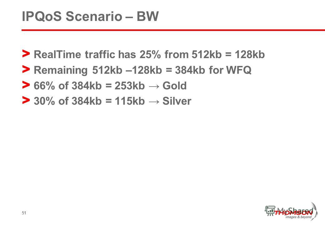51 IPQoS Scenario – BW > RealTime traffic has 25% from 512kb = 128kb > Remaining 512kb –128kb = 384kb for WFQ > 66% of 384kb = 253kb Gold > 30% of 384kb = 115kb Silver