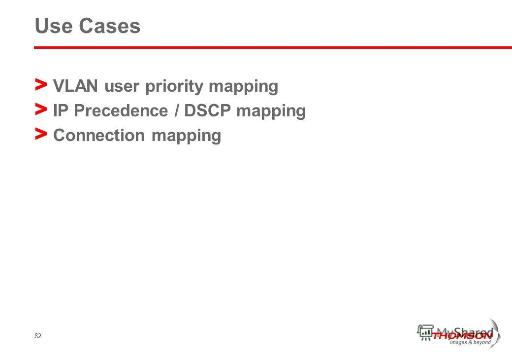 82 Use Cases > VLAN user priority mapping > IP Precedence / DSCP mapping > Connection mapping