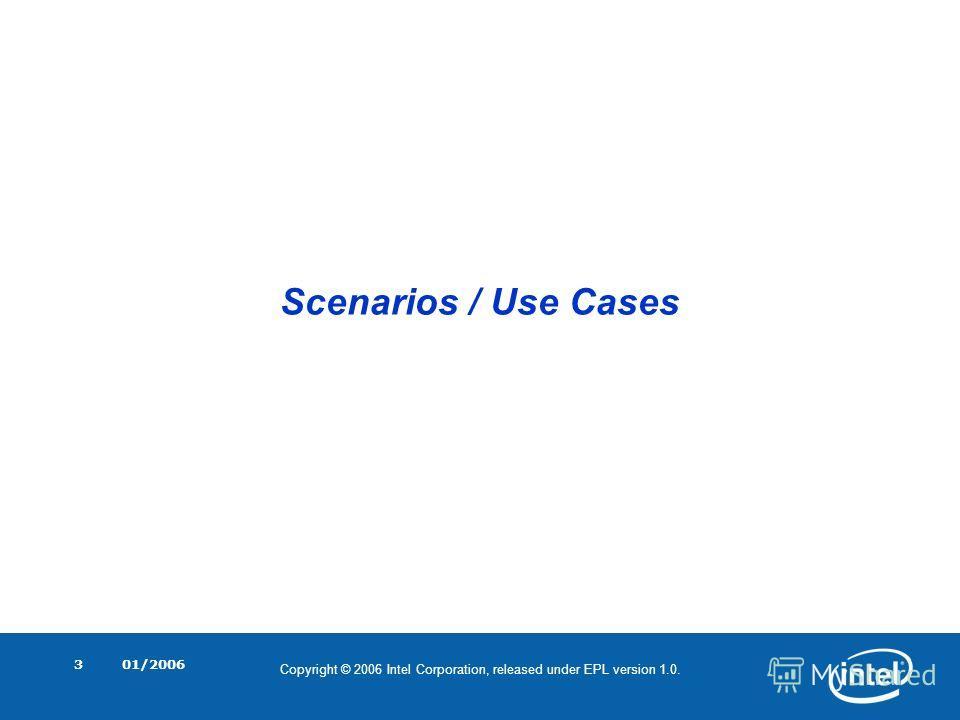 Copyright © 2006 Intel Corporation, released under EPL version 1.0. 01/20063 Scenarios / Use Cases