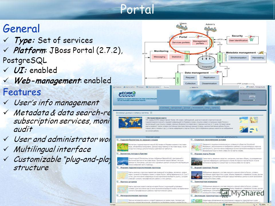 Portal General Type: Set of services Platform: JBoss Portal (2.7.2), PostgreSQL UI: enabled Web-management: enabled Features Users info management Metadata & data search-retrieve, subscription services, monitoring and audit User and administrator wor