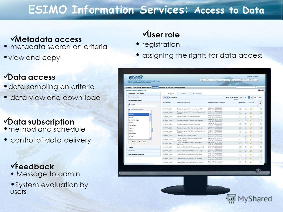ESIMO Information Services: Access to Data User role registration assigning the rights for data access Metadata access metadata search on criteria view and copy Data access data sampling on criteria data view and down-load Data subscription method an