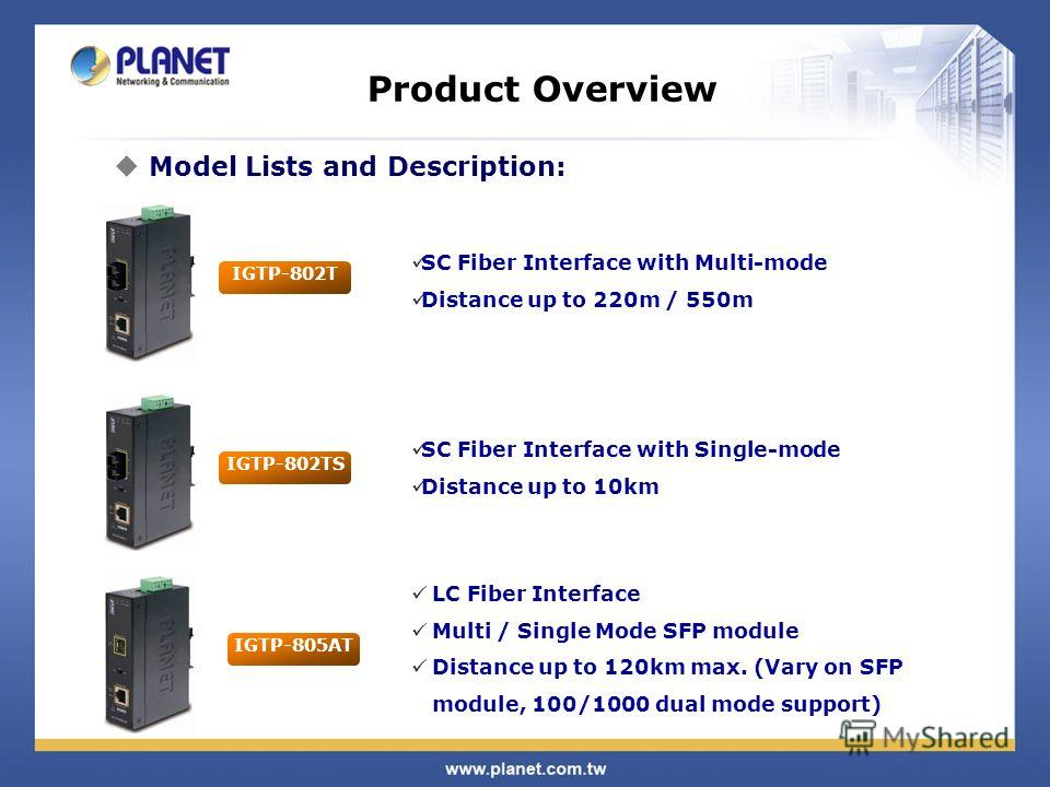 Product Overview SC Fiber Interface with Multi-mode Distance up to 220m / 550m Model Lists and Description: IGTP-802T IGTP-802TS SC Fiber Interface with Single-mode Distance up to 10km IGTP-805AT LC Fiber Interface Multi / Single Mode SFP module Dist