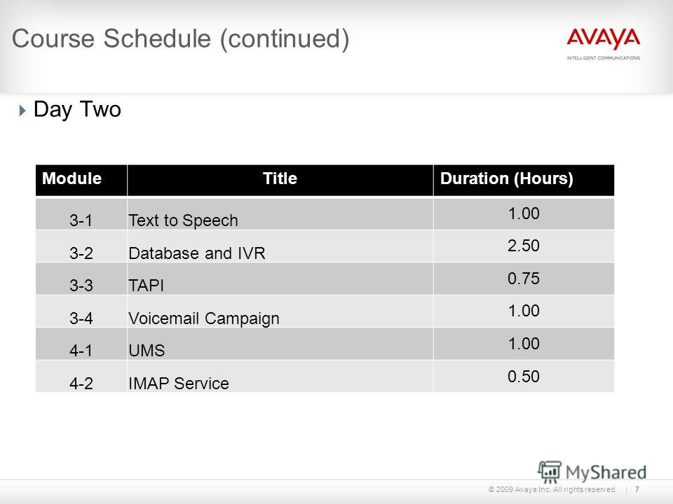 © 2009 Avaya Inc. All rights reserved.7 Course Schedule (continued) Day Two ModuleTitleDuration (Hours) 3-1Text to Speech 1.00 3-2Database and IVR 2.50 3-3TAPI 0.75 3-4Voicemail Campaign 1.00 4-1UMS 1.00 4-2IMAP Service 0.50