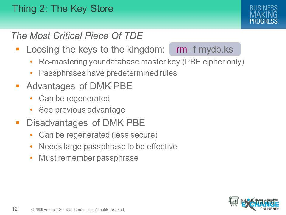 © 2009 Progress Software Corporation. All rights reserved. Thing 2: The Key Store Loosing the keys to the kingdom: rm -f mydb.ks Re-mastering your database master key (PBE cipher only) Passphrases have predetermined rules Advantages of DMK PBE Can be