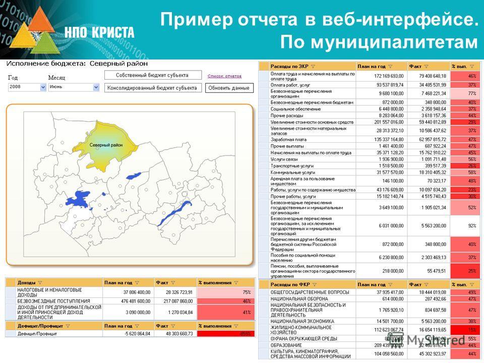 Пример отчета в веб-интерфейсе. По муниципалитетам