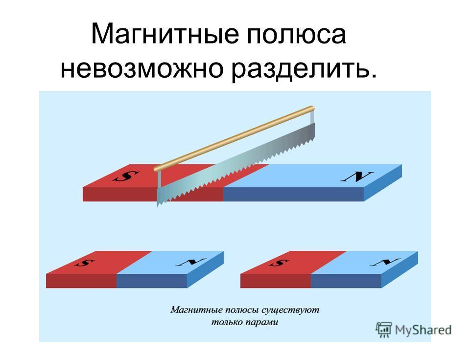Магнитные полюса невозможно разделить.