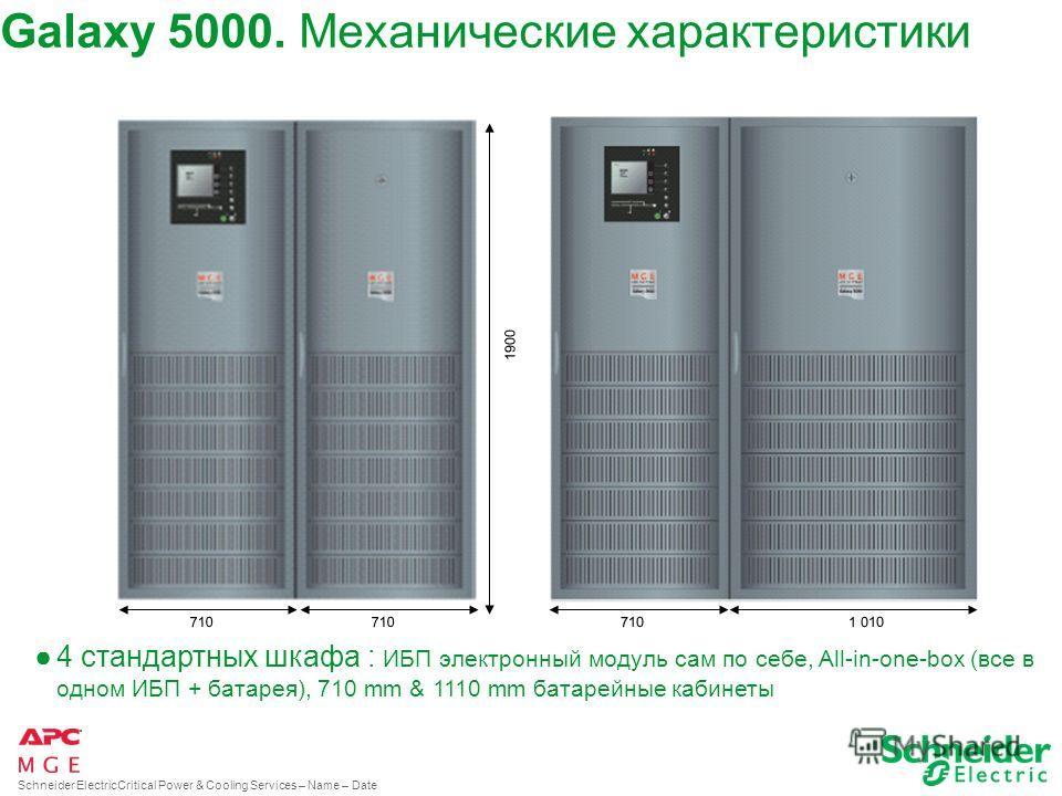 Schneider ElectricCritical Power & Cooling Services – Name – Date Galaxy 5000. Механические ххарактеристики IP 20 На 30% меньше площадь 1900 710 1 110 850