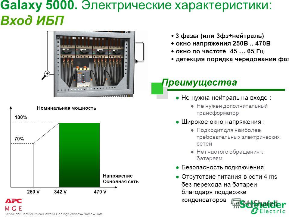 Schneider ElectricCritical Power & Cooling Services – Name – Date Galaxy 5000. Стандартные батареи. Зависимость времени автономии батарей от мощности ИБП 20 30 40 60 80 100 120 0 минут 0 мин с полками по бокам 5 мин 10 мин 15 мин 30 мин