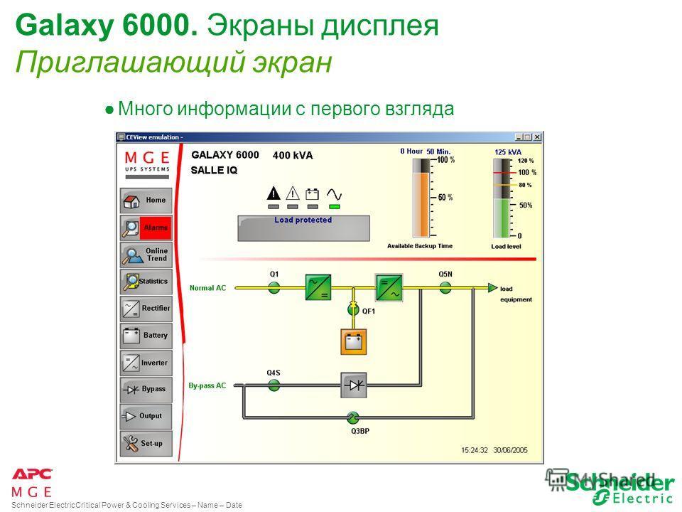 Schneider ElectricCritical Power & Cooling Services – Name – Date Galaxy 6000. Дисплейная опция. Подключение к локальной сети Каждый дисплей имеет независимый IP адрес и Network Interface Card Сетевой доступ : Показания дисплея могут быть наблюдаемы