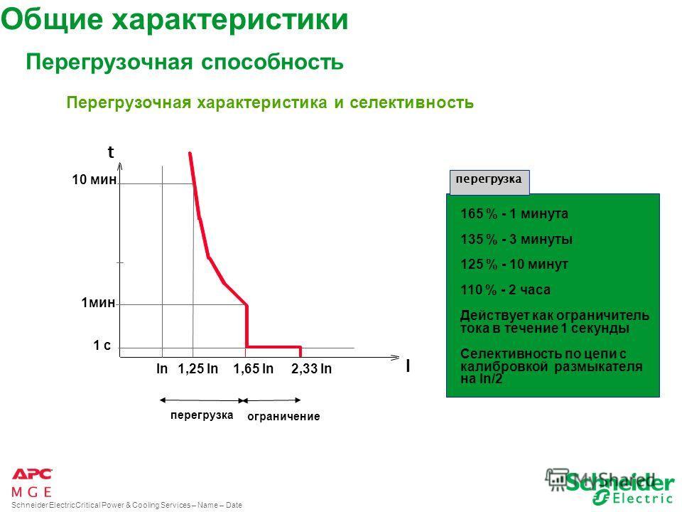 Schneider ElectricCritical Power & Cooling Services – Name – Date Высокий КПД 0%25%50% 75%100% P% 100 90 9193 % P e P s P e P s = Постоянный кпд 93% в диапазоне от 25% до 100% полной нагрузки Общие ххарактеристики