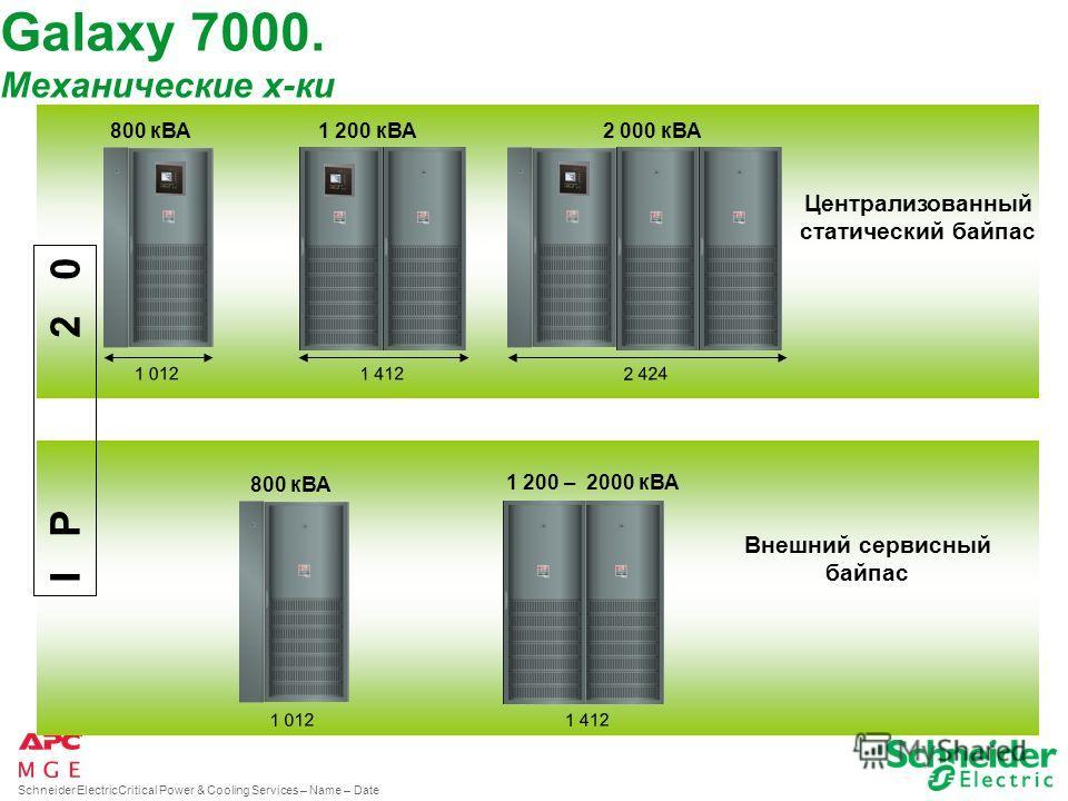 Schneider ElectricCritical Power & Cooling Services – Name – Date 712 1 012 1 412 400 ИБП Батарейные и дополнительные шкафы I P 2 0 250 – 300 – 400 кВА500 кВА Galaxy 7000. Механические х-ки