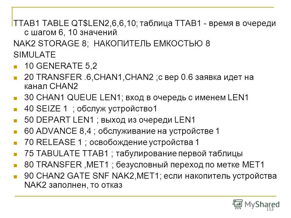 113 TTAB1 TABLE QT$LEN2,6,6,10; таблица TTAB1 - время в очереди с шагом 6, 10 значений NAK2 STORAGE 8; НАКОПИТЕЛЬ ЕМКОСТЬЮ 8 SIMULATE 10 GENERATE 5,2 20 TRANSFER.6,CHAN1,CHAN2 ;с вер 0.6 заявка идет на канал CHAN2 30 CHAN1 QUEUE LEN1; вход в очередь