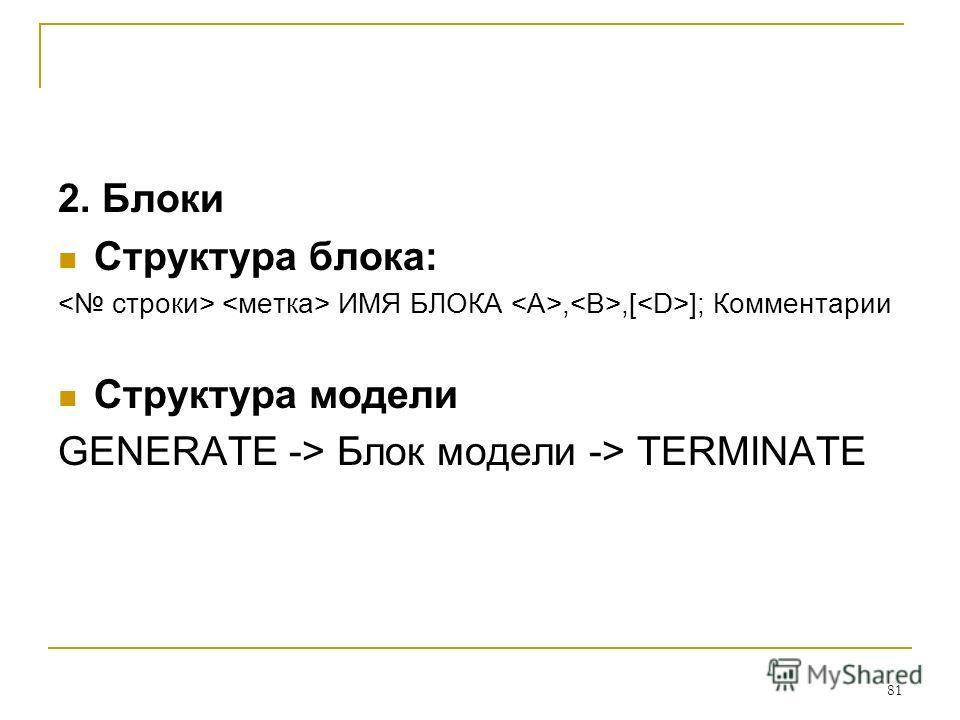 81 2. Блоки Структура блока: ИМЯ БЛОКА,,[ ]; Комментарии Структура модели GENERATE -> Блок модели -> TERMINATE