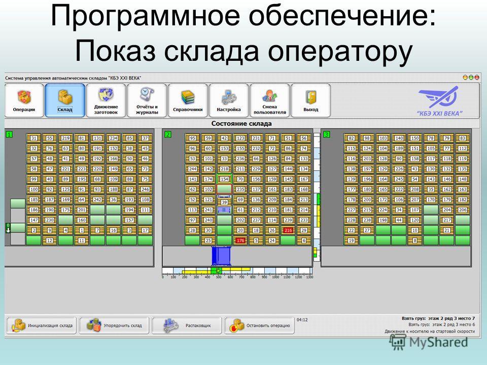 Программное обеспечение: Показ склада оператору