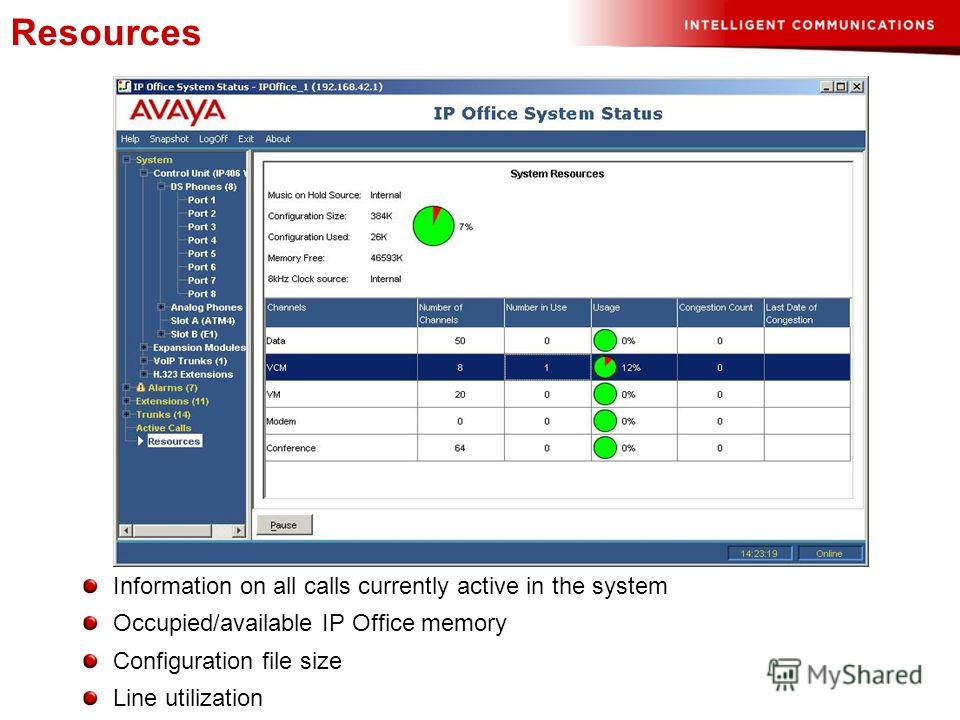 Information on all calls currently active in the system Occupied/available IP Office memory Configuration file size Line utilization Resources