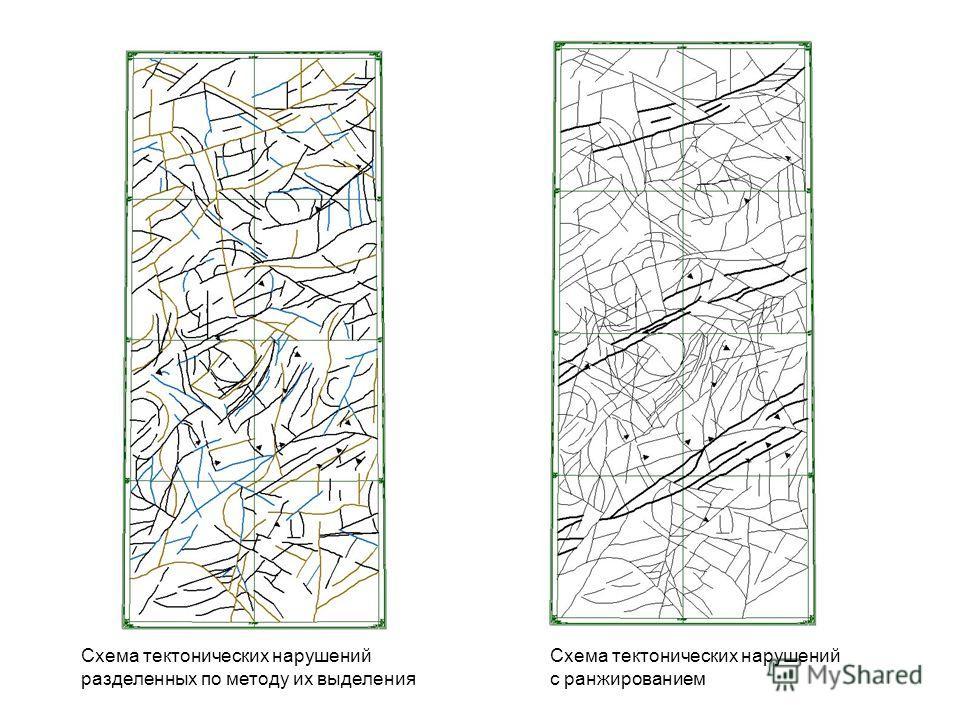 Схема тектонических нарушений разделенных по методу их выделения Схема тектонических нарушений с ранжированием