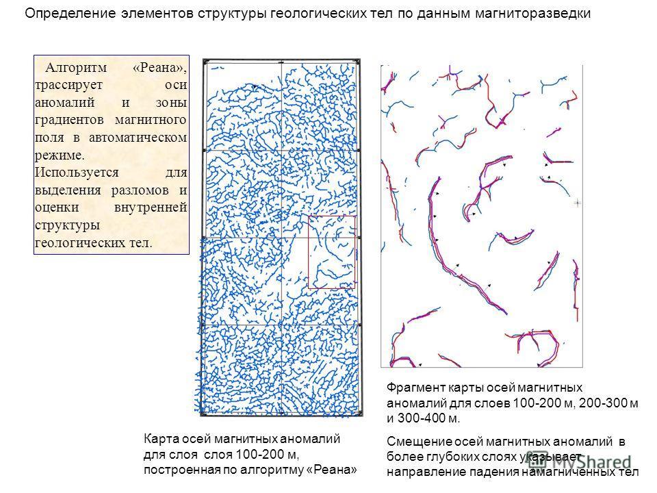 Определение элементов структуры геологических тел по данным магниторазведки Фрагмент карты осей магнитных аномалий для слоев 100-200 м, 200-300 м и 300-400 м. Смещение осей магнитных аномалий в более глубоких слоях указывает направление падения намаг