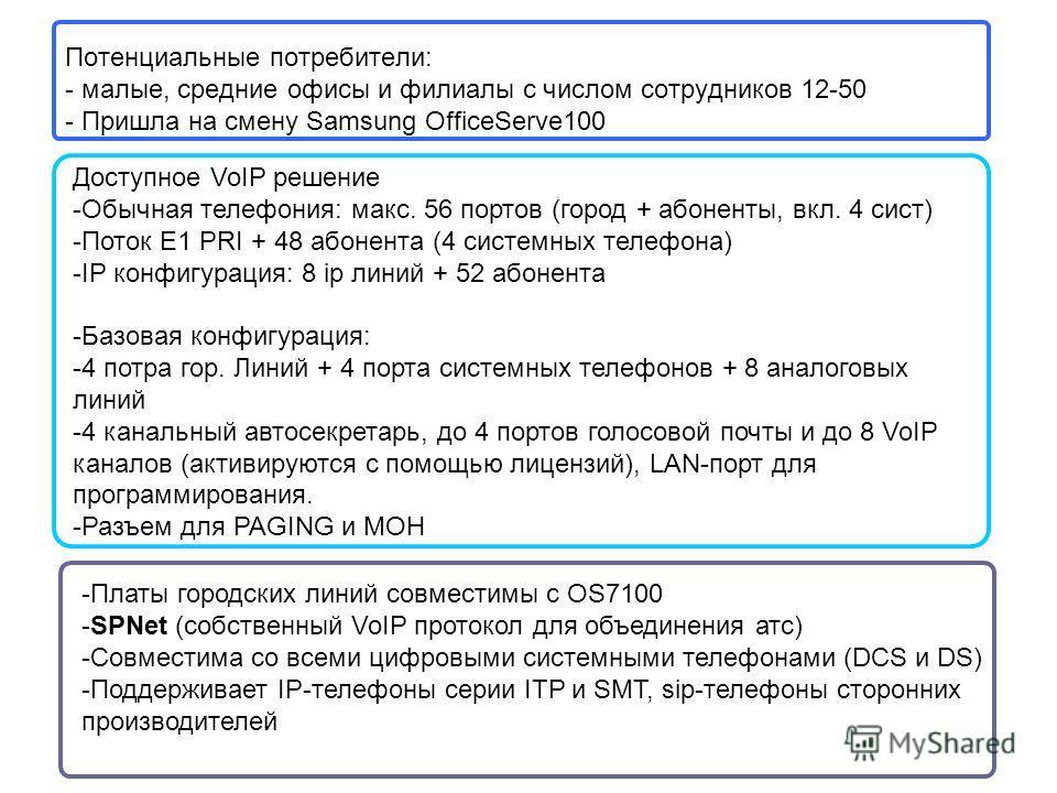 Потенциальные потребители: - малые, средние офисы и филиалы с числом сотрудников 12-50 - Пришла на смену Samsung OfficeServe100 Доступное VoIP решение -Обычная телефония: макс. 56 портов (город + абоненты, вкл. 4 сист) -Поток E1 PRI + 48 абонента (4