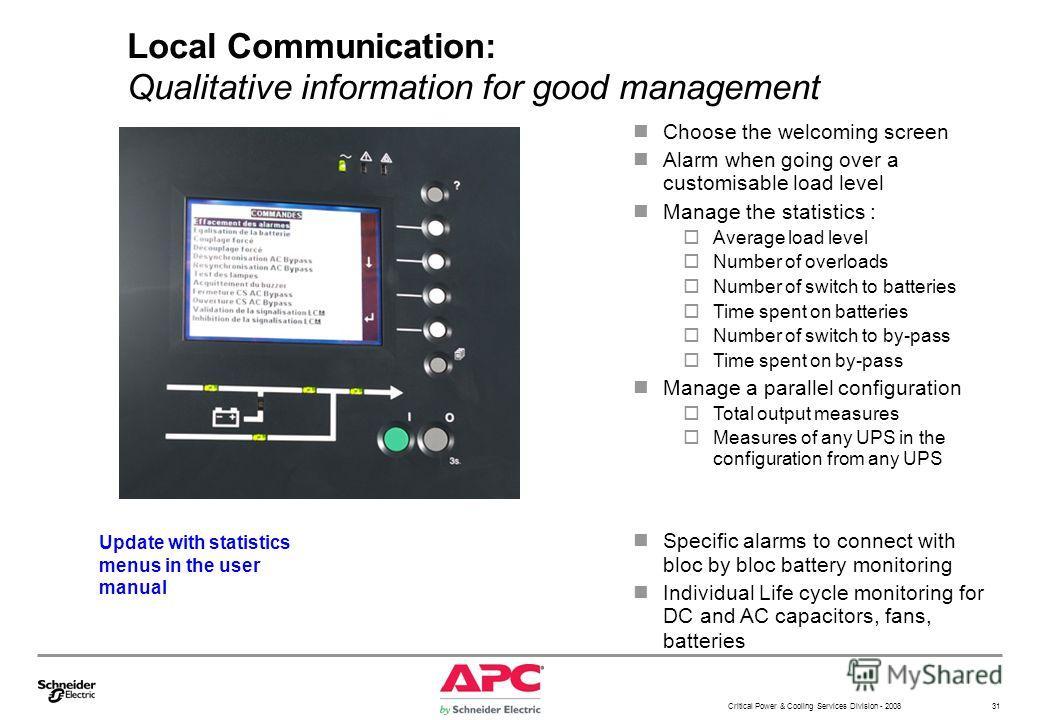 Critical Power & Cooling Services Division - 2008 31 Local Communication: Qualitative information for good management Choose the welcoming screen Alarm when going over a customisable load level Manage the statistics : Average load level Number of ove