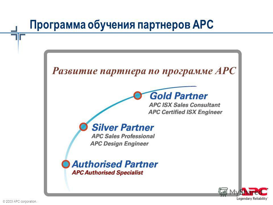 © 2003 APC corporation. Программа обучения партнеров АРС Развитие партнера по программе АРС