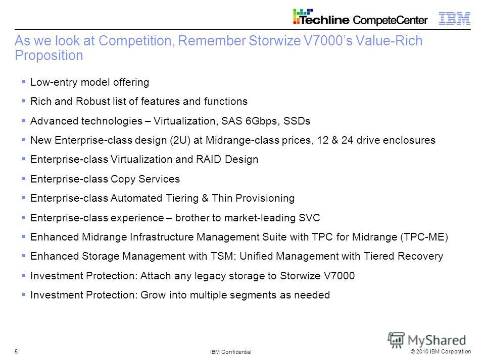© 2010 IBM Corporation IBM Confidential 5 As we look at Competition, Remember Storwize V7000s Value-Rich Proposition Low-entry model offering Rich and Robust list of features and functions Advanced technologies – Virtualization, SAS 6Gbps, SSDs New E