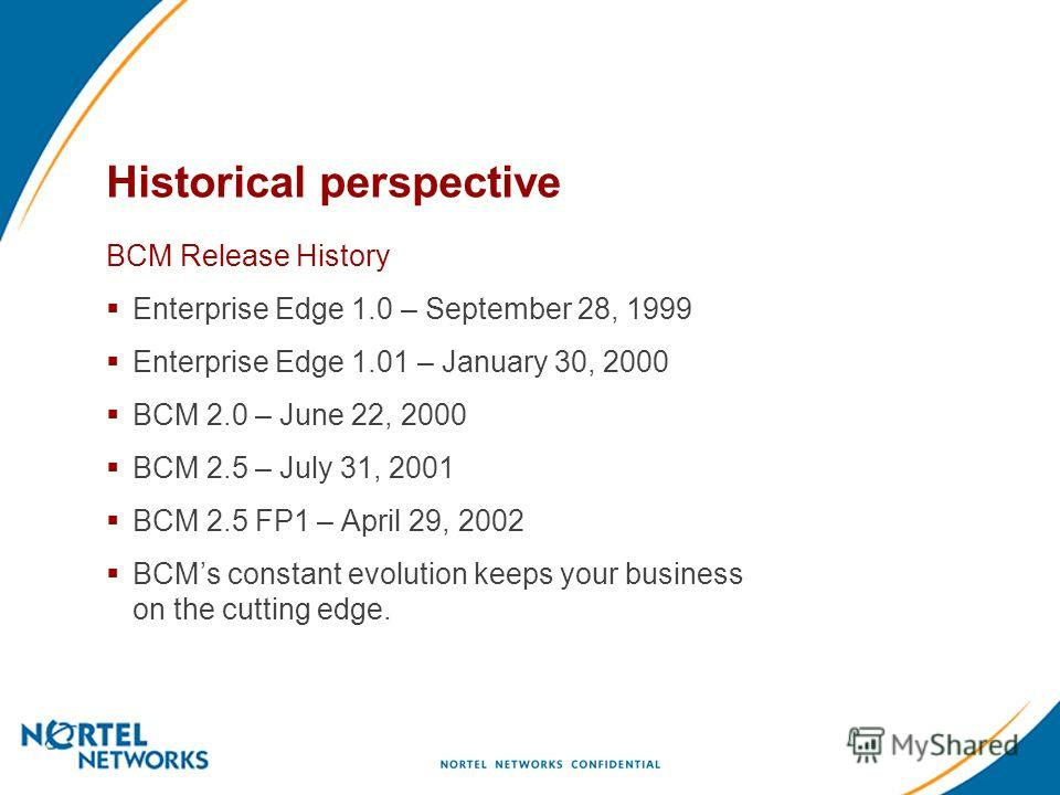 Historical perspective BCM Release History Enterprise Edge 1.0 – September 28, 1999 Enterprise Edge 1.01 – January 30, 2000 BCM 2.0 – June 22, 2000 BCM 2.5 – July 31, 2001 BCM 2.5 FP1 – April 29, 2002 BCMs constant evolution keeps your business on th