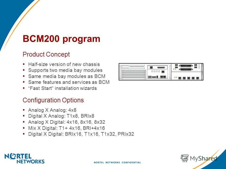 BCM200 program Product Concept Half-size version of new chassis Supports two media bay modules Same media bay modules as BCM Same features and services as BCM Fast Start installation wizards Configuration Options Analog X Analog: 4x8 Digital X Analog