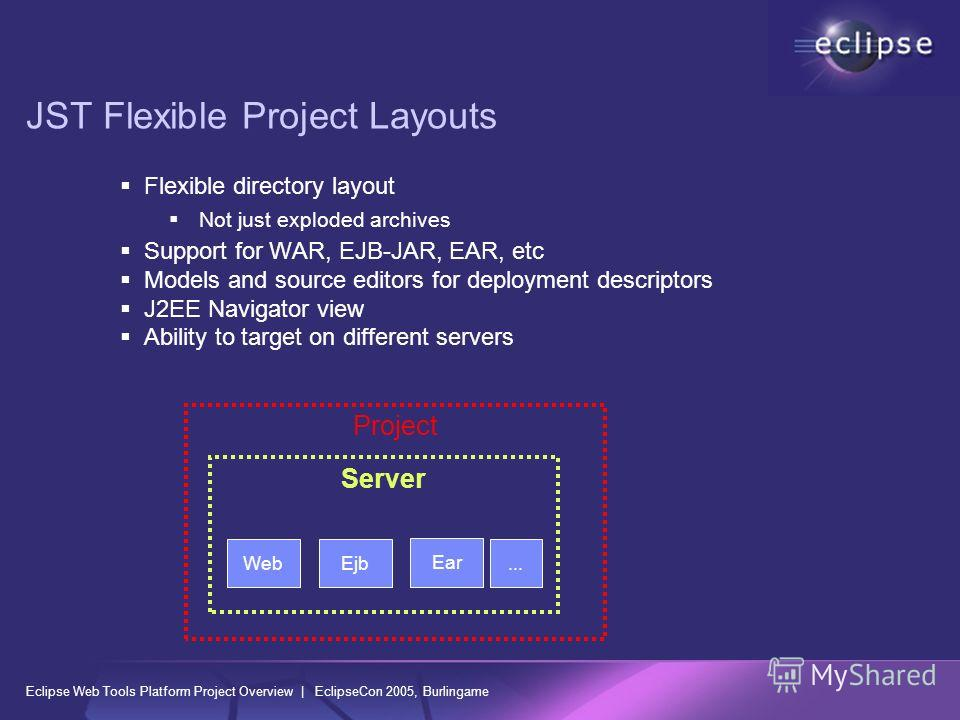 Eclipse Web Tools Platform Project Overview | EclipseCon 2005, Burlingame JST Flexible Project Layouts Flexible directory layout Not just exploded archives Support for WAR, EJB-JAR, EAR, etc Models and source editors for deployment descriptors J2EE N