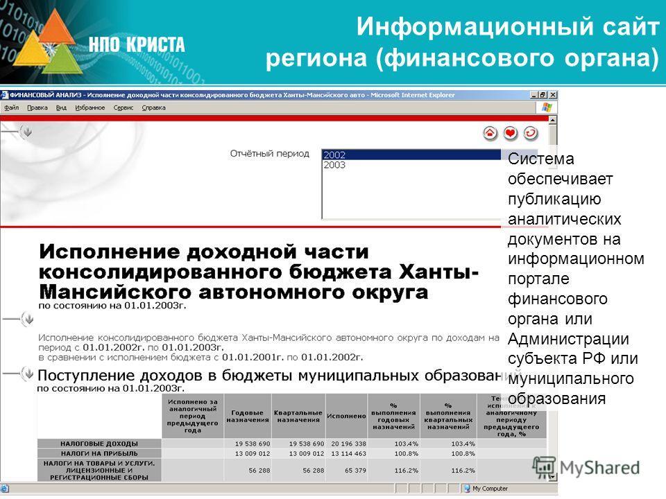 Информационный сайт региона (финансового органа) Система обеспечивает публикацию аналитических документов на информационном портале финансового органа или Администрации субъекта РФ или муниципального образования