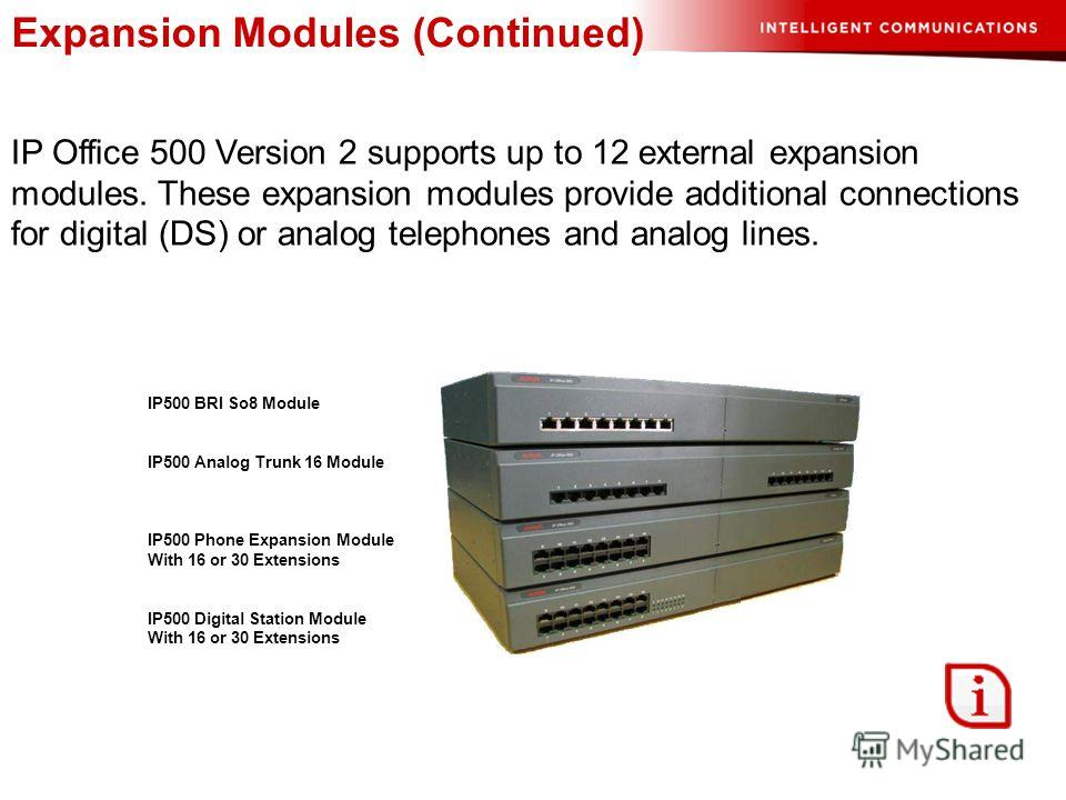 Expansion Modules (Continued) IP Office 500 Version 2 supports up to 12 external expansion modules. These expansion modules provide additional connections for digital (DS) or analog telephones and analog lines. IP500 BRI So8 Module IP500 Analog Trunk