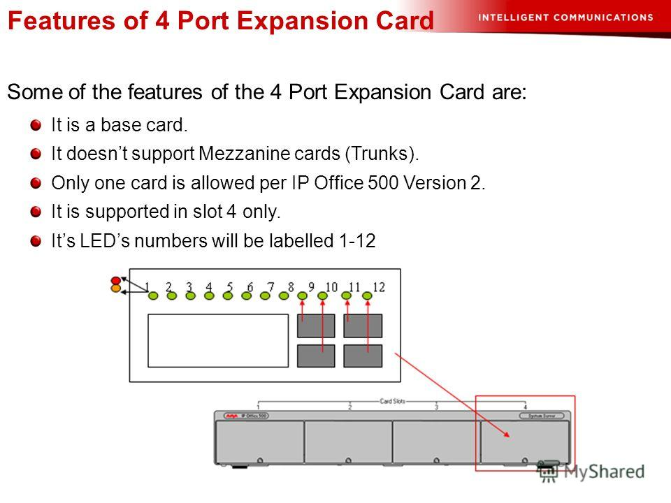 Features of 4 Port Expansion Card Some of the features of the 4 Port Expansion Card are: It is a base card. It doesnt support Mezzanine cards (Trunks). Only one card is allowed per IP Office 500 Version 2. It is supported in slot 4 only. Its LEDs num