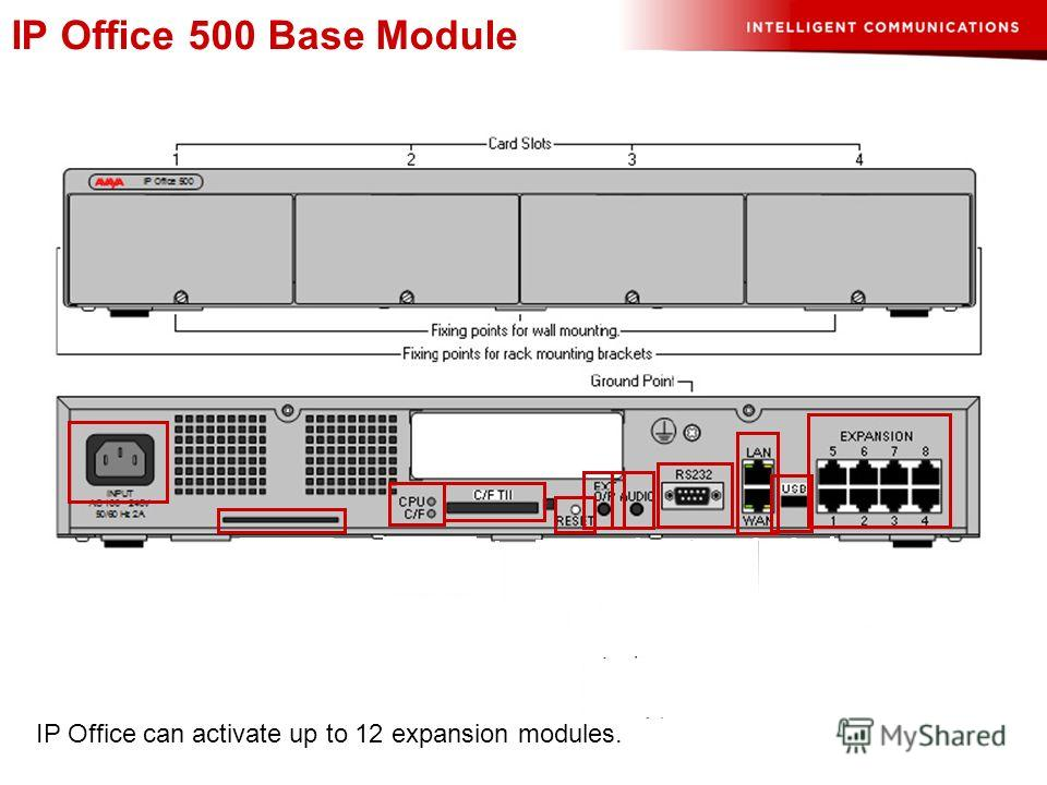 IP Office 500 Base Module IP Office can activate up to 12 expansion modules.