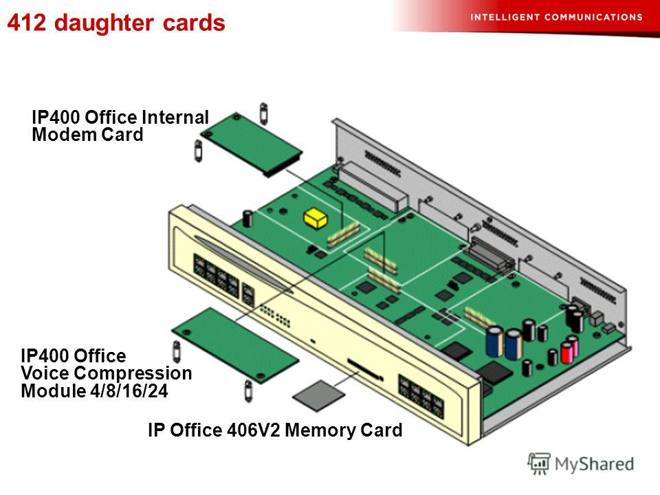 412 daughter cards IP400 Office Voice Compression Module 4/8/16/24 IP Office 406V2 Memory Card IP400 Office Internal Modem Card