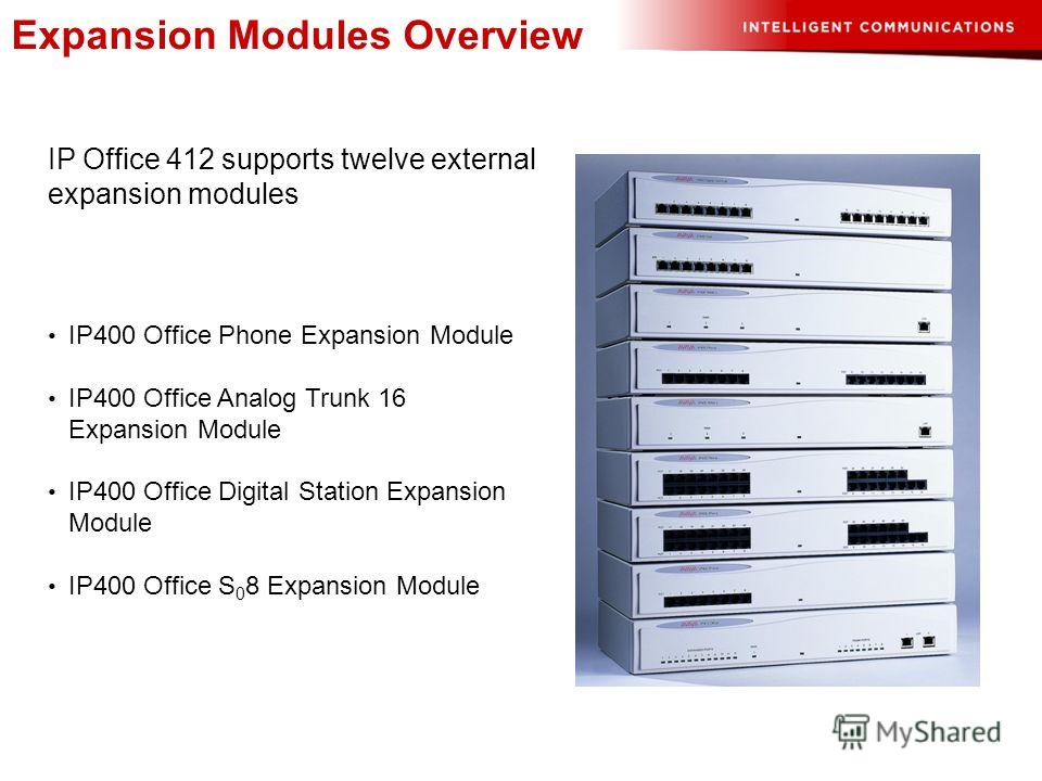Expansion Modules Overview IP Office 412 supports twelve external expansion modules IP400 Office Phone Expansion Module IP400 Office Analog Trunk 16 Expansion Module IP400 Office Digital Station Expansion Module IP400 Office S 0 8 Expansion Module