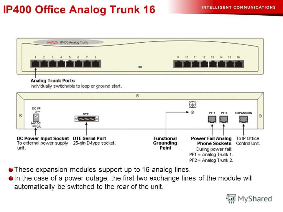 IP400 Office Analog Trunk 16 These expansion modules support up to 16 analog lines. In the case of a power outage, the first two exchange lines of the module will automatically be switched to the rear of the unit.