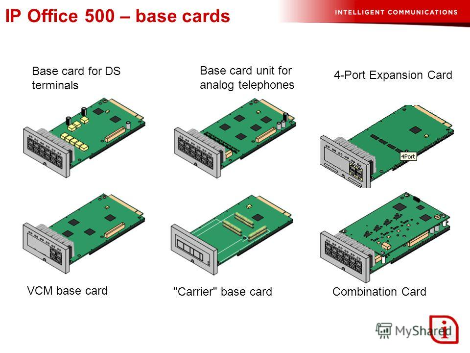 IP Office 500 – base cards Base card for DS terminals Base card unit for analog telephones VCM base card Carrier base card 4-Port Expansion Card Combination Card