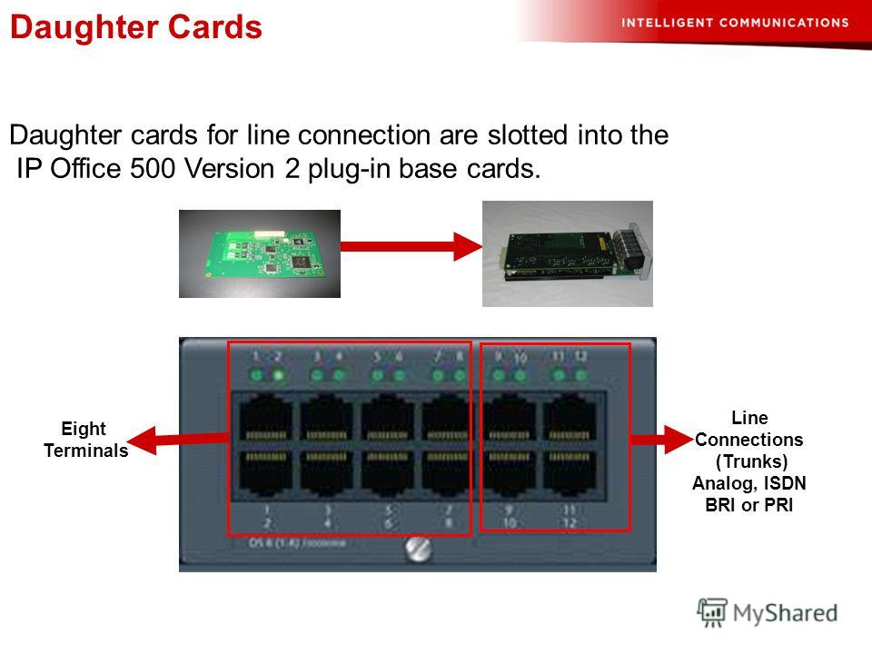 Daughter Cards Daughter cards for line connection are slotted into the IP Office 500 Version 2 plug-in base cards. Eight Terminals Line Connections (Trunks) Analog, ISDN BRI or PRI