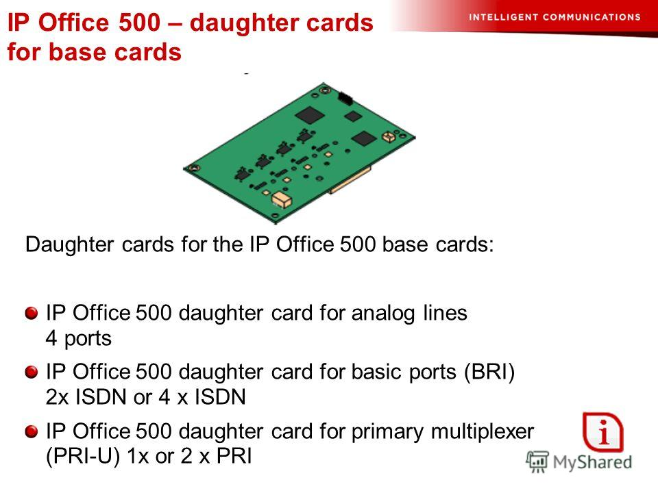 IP Office 500 – daughter cards for base cards Daughter cards for the IP Office 500 base cards: IP Office 500 daughter card for analog lines 4 ports IP Office 500 daughter card for basic ports (BRI) 2x ISDN or 4 x ISDN IP Office 500 daughter card for