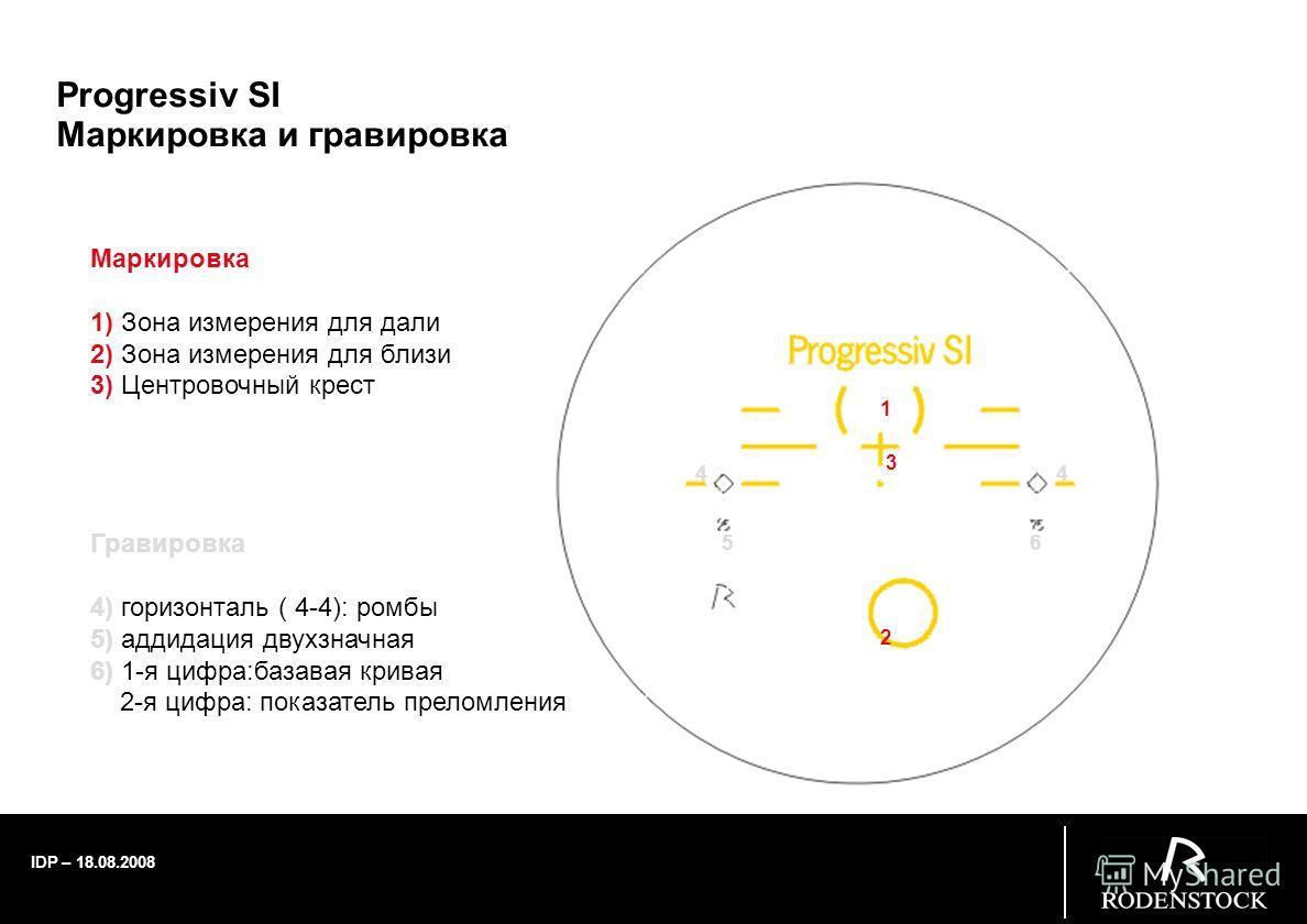 IDP – 18.08.2008 Progressiv SI Маркировка и гравировка 1 2 3 44 5 6 Маркировка 1) Зона измерения для дали 2) Зона измерения для близи 3) Центровочный крест Гравировка 4) горизонталь ( 4-4): ромбы 5) аддидация двухзначная 6) 1-я цифра:базовая кривая 2