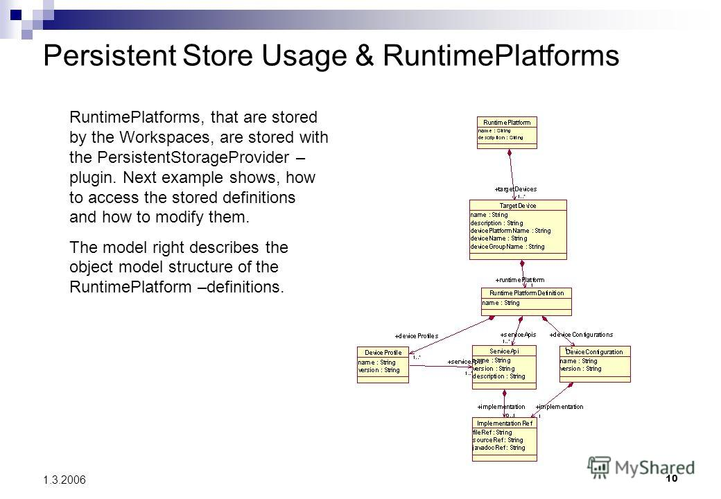 10 1.3.2006 Persistent Store Usage & RuntimePlatforms RuntimePlatforms, that are stored by the Workspaces, are stored with the PersistentStorageProvider – plugin. Next example shows, how to access the stored definitions and how to modify them. The mo