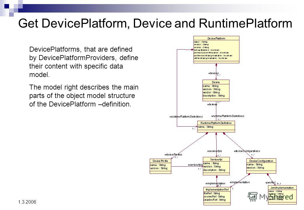 3 1.3.2006 Get DevicePlatform, Device and RuntimePlatform DevicePlatforms, that are defined by DevicePlatformProviders, define their content with specific data model. The model right describes the main parts of the object model structure of the Devic