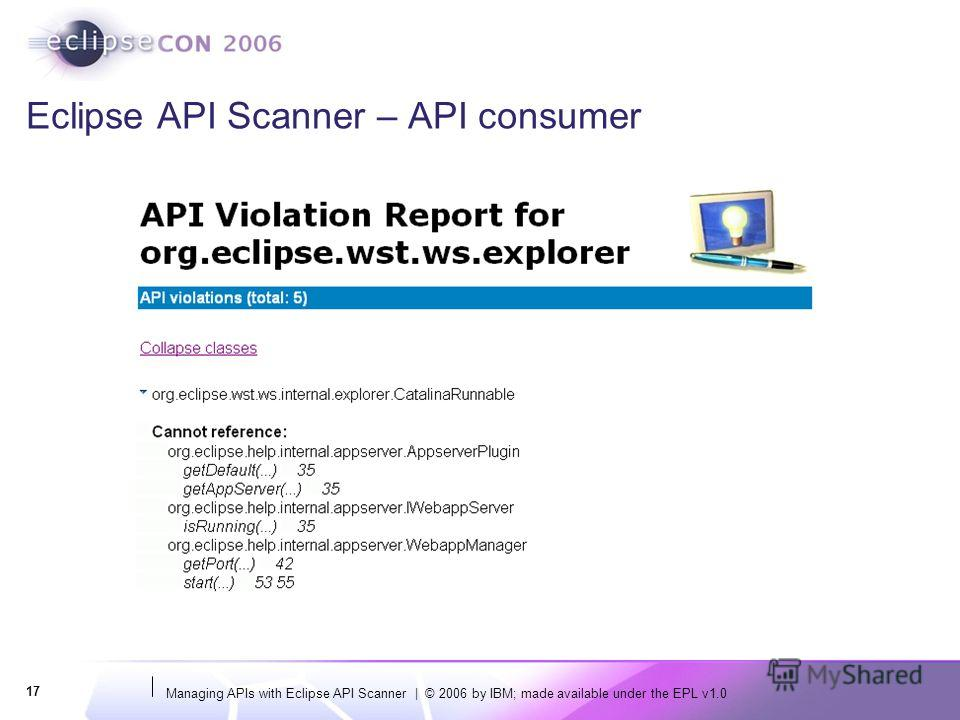 Managing APIs with Eclipse API Scanner | © 2006 by IBM; made available under the EPL v1.0 17 Eclipse API Scanner – API consumer