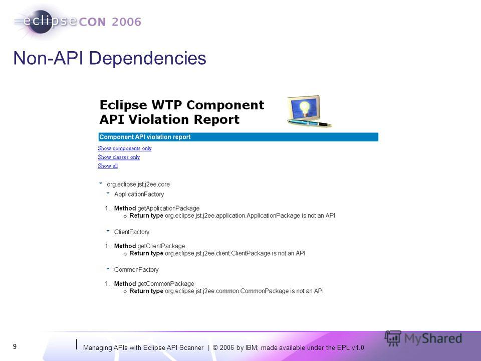 Managing APIs with Eclipse API Scanner | © 2006 by IBM; made available under the EPL v1.0 9 Non-API Dependencies