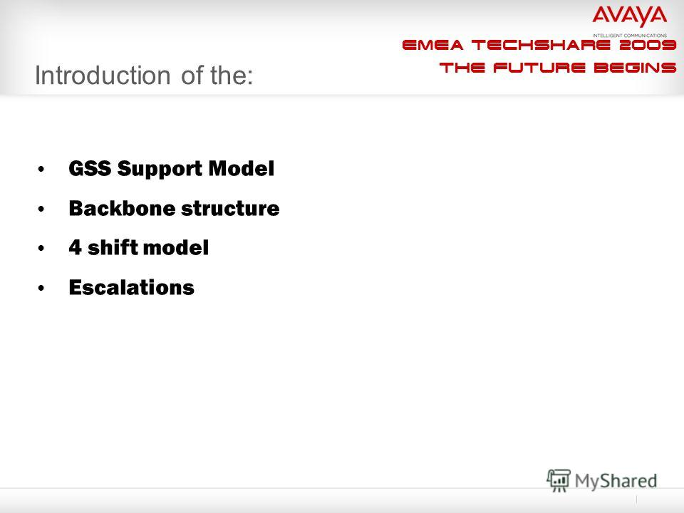 EMEA Techshare 2009 The Future Begins Introduction of the: GSS Support Model Backbone structure 4 shift model Escalations